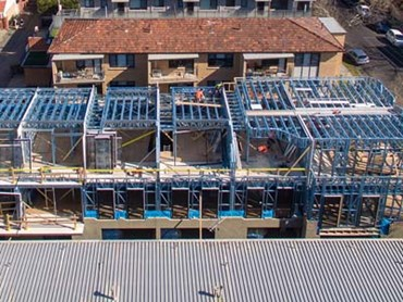 Lightweight TRUECORE steel framing at Pine Ave Townhouse project