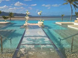 Runway created over resort pool for wedding using 25mm Plexiglas sheet
