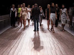 Polyflor Expona SimpLay vinyl flooring showcased on runway at Mercedes-Benz Fashion Week in Sydney