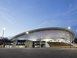 Custom fabric stadium façade delivered for Queensland State Velodrome