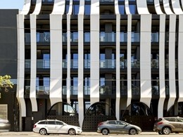 Vitracore G2-clad cascading white ribbons on bespoke Melbourne apartments