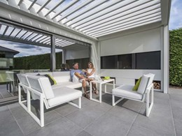 Renson's aluminium bladed roof helps create outdoor living space with weather protection