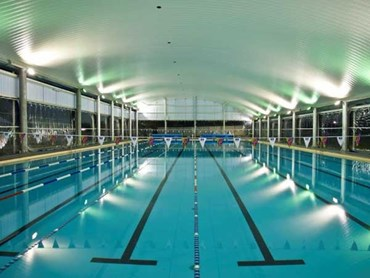 Spantech s shade structure installed over 50m swimming for 50m pool design