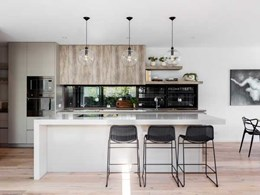 Pre-fab Rose Bay home fitted with Caesarstone benchtops in kitchen and bathrooms