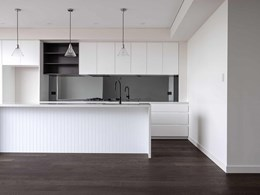 Dark European oak floor creates depth and interest in Rose Bay luxury apartment