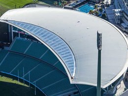 Curved roof above SCG pavilion achieved with Fielders FreeForm profile