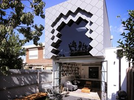 This tessellated box addition to Melbourne home was rejected by zinc installers