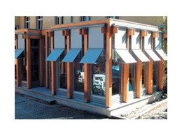 Aluxor Markisolette vertical screen awning systems available from Aluxor Awning Systems