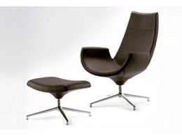 Beetle high back armchair with matching Beetle ottoman available from Botton + Gardiner Urban Furniture