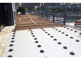 Buzon pedestals support joists during replacement of timber deck at Sydney wharf