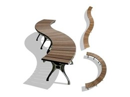 Curved Radial DuraSlat bench seats available from botton + gardiner urban furniture