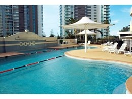 Decker composite decking replaces old timber decking at resort swimming pool