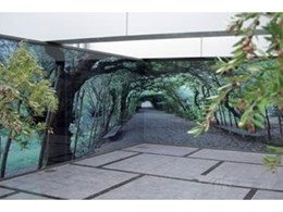Decorative glass panels from Digiglass used to recreate Italian garden path in South Melbourne