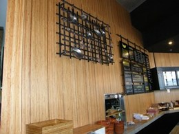 Docklands cafe utilises MAXI Edge Rustic ply panels from MAXI Plywood