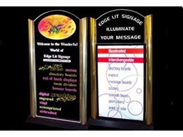 Double Pedestal edge lit signage available from Sasign International