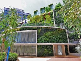 Elmich vertical greening modules create living walls in Singapore