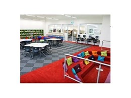 Envisions, Quad-X and custom loop pile modular carpet tiles from Ontera Modular Carpets installed at All Saints College