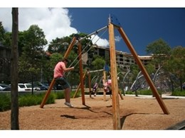 Extra high playground swings from Moduplay Commercial Play Systems installed at former Sydney Water Police Wharf at Pyrmont