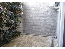 Foundry Stone panels from Composite Materials Australia used for Scarborough courtyard wall cladding