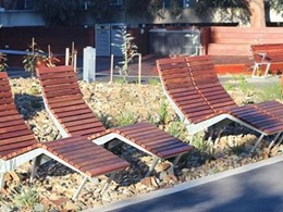 Furphy Foundry park and street furniture at Deakin University, Burwood