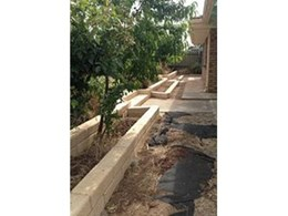 Half Large retaining blocks from Timbercrete used to tidy up McLaren Vale garden