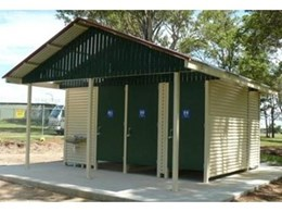 Hip pyramid roof public restrooms available from Outside Products