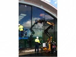 Hired glass lifter from Kennards Lift & Shift saves labour at cultural centre