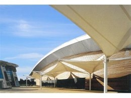 Hypar modular shade structures from Flexshade installed at aquatic centre in Ireland