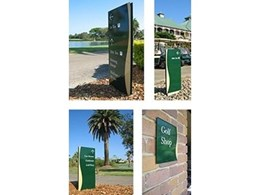 Identity, wayfinding and billboard signage for Colonial Golf Course designed by Wood & Wood Sign Systems