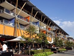 Issey sun shade system protects shops on Sydney's King Street Wharf