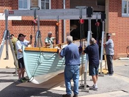 Kennards Hire lifts and shifts whaler boat for Gallipoli exhibition