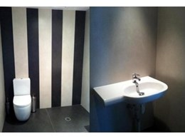 Kerlite porcelain panels from Rocks On are a super quick cladding option for bathroom walls and flooring