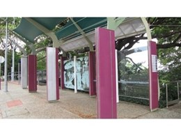 Laminated decorative glass from DigiGlass used for bus shelter in Darwin