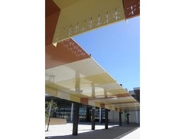 Mastermesh perforated metal canopies at Perth Airport new T2