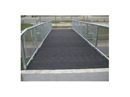 Moodie Outdoor Products use Evertuff Everdeck commercial decking boards to construct pedestrian bridge