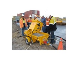 Mortar and concrete mixer pump from Kennards Concrete Care attracts attention