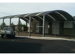 New curved roof shelter for north Melbourne school