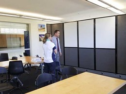 Mobile whiteboard dividers creating functional space for flexible classrooms
