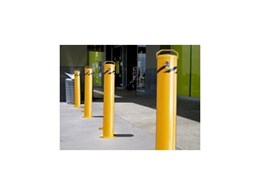 Ram raid protection using steel bollards