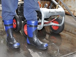 Safety boots by Australian Pump Industries designed for use with high pressure water jets
