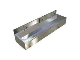 Stainless steel drinking and hand washing troughs available from Britex