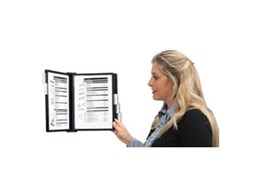 Swinga wall mounted document display systems available from Arnos Australia