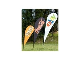 Teardrop banners available from Portable Displays Australia