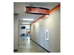 Vista System's wall frames and suspended signs recently installed at Jon Davis Wrestling Centre in US High School Sports Complex