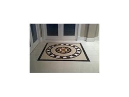 Waterjet cut granite and marble floor medallion insert from WOWFactors.BIZ