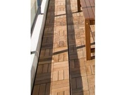 Wooden outdoor decking floor tiles by Wintons Teak available from Transforma