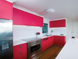 Case Study: Eco chic is the theme in 'pink kitchen' design at Tullabudgera Valley home