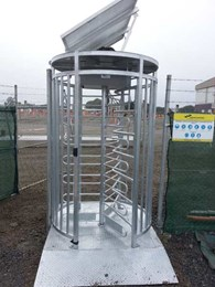 Magnetic's solar powered turnstile and gate at construction site ensuring site safety