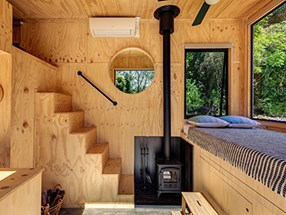 Small cabin interior with timber ecoply panels