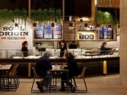 Corian Earth provides seamless finish on counters at Soul Origin in Sydney